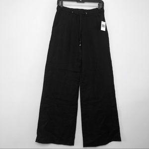 Guess Wide Leg Linen Black Pant Drawstring XS